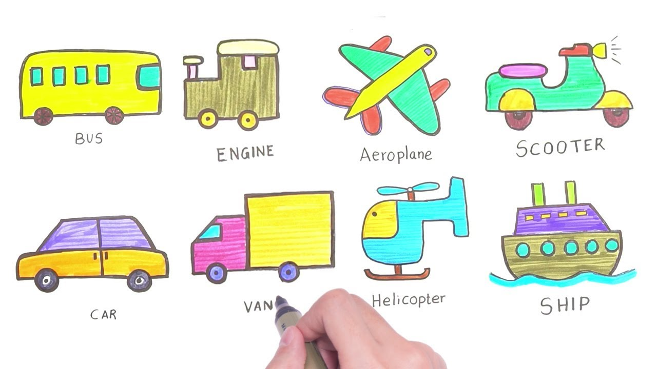 How To Draw Vehicles Drawing For Kids Easy Step By Step Drawing