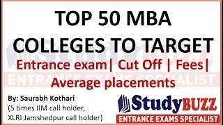 Top 50 MBA colleges in India | Entrance exam, fees structure, cutoff, average placements