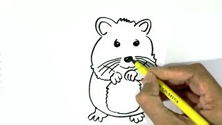 How to draw  a Hamster easy steps for children, kids, beginners