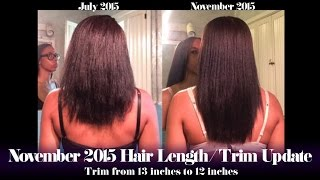 November 9, 2015: Hair Length/Trim Check Update | 13 inches trimmed to 12 inches