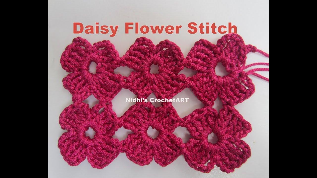 How To Crochet Daisy Flower Stitch Tutorial Youtube