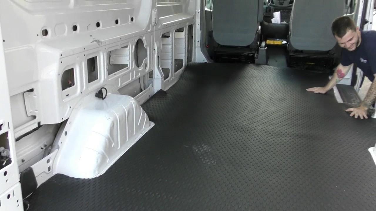 american van equipment custom fit rubber van mat in a ford transit van [ 1280 x 720 Pixel ]
