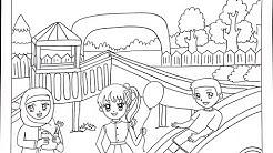 Cara Menggambar Dan Mewarnai Taman Bermain