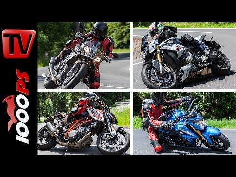 Nakedbike Test 2015 - Aprilia Tuono, KTM 1290 Super Duke, BMW S1000R, Suzuki GSX-S 1000