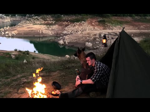 2 DAYS SOLO LAKE SURVIVAL Canvas Bushcraft Tent, Iron Oven, Camping With Dog 4K