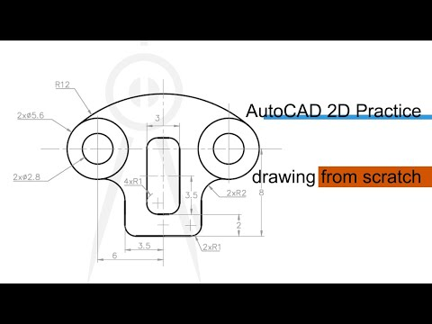 2D AutoCAD Practice Drawing With Annotations From Scratch.