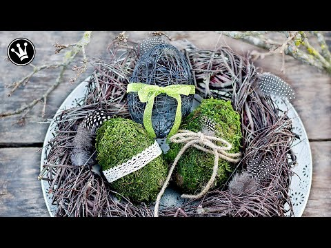 DIY - Frühlingssdeko selber machen | Osterdeko | Eier aus Moos und Draht | Kranz aus Zweigen
