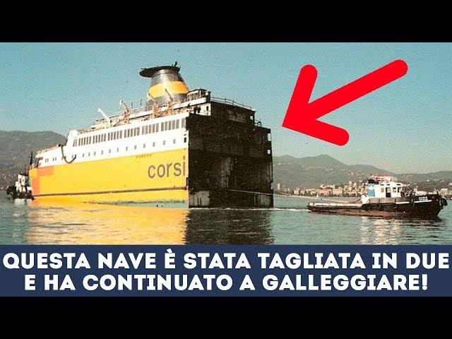 Guardate come viene tagliata in due e allungata questa nave passeggeri