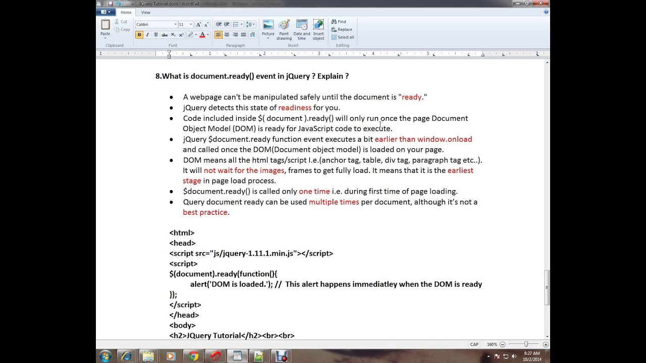 WHAT IS DOCUMENT READY EVENT JQUERY