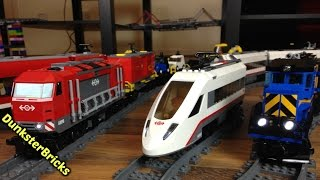LEGO Train Track Setup With Slope and Bridge! Featuring Modified Cargo and Passenger Trains in 4K!