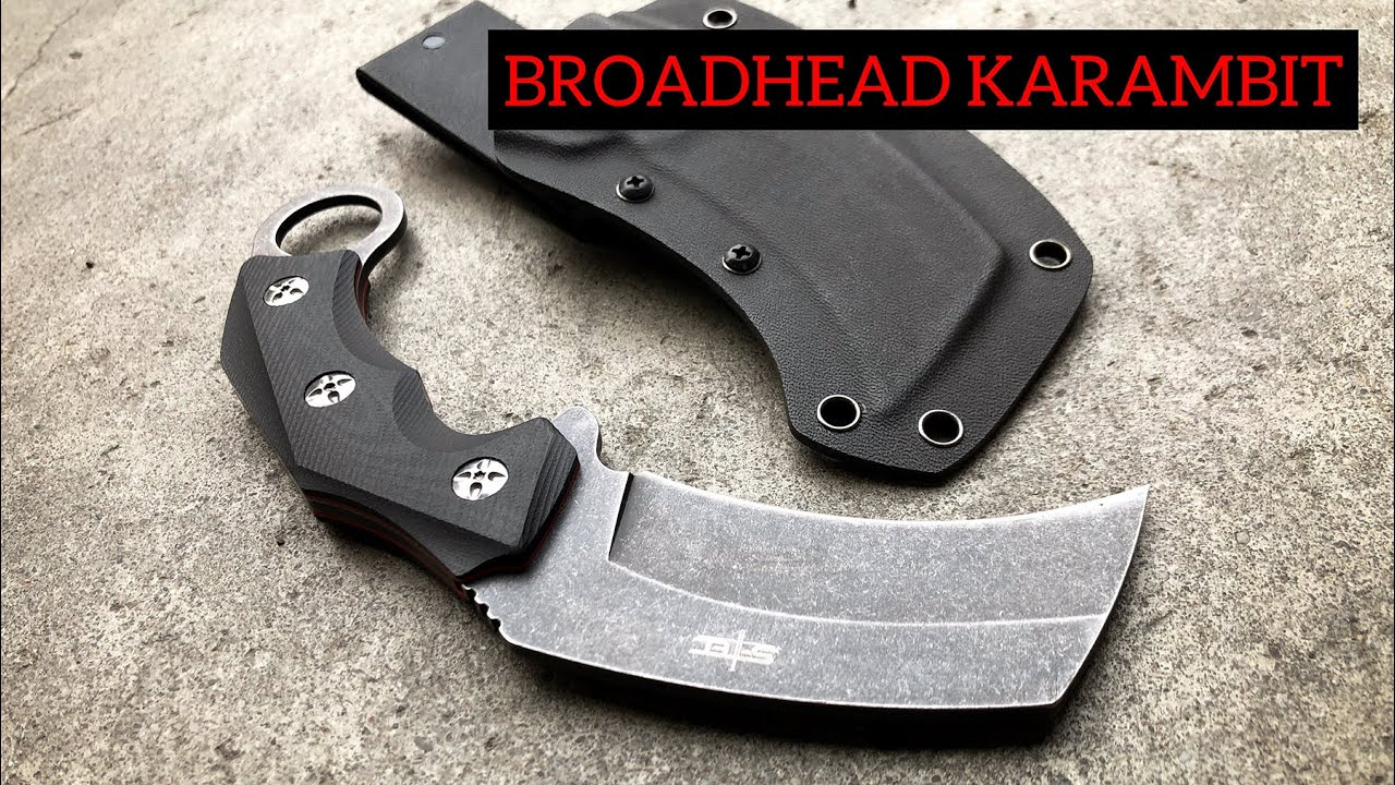 Stonewash Broadhead Karambit Fixed Blade