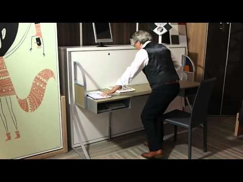 lit escamotable bureau youtube. Black Bedroom Furniture Sets. Home Design Ideas