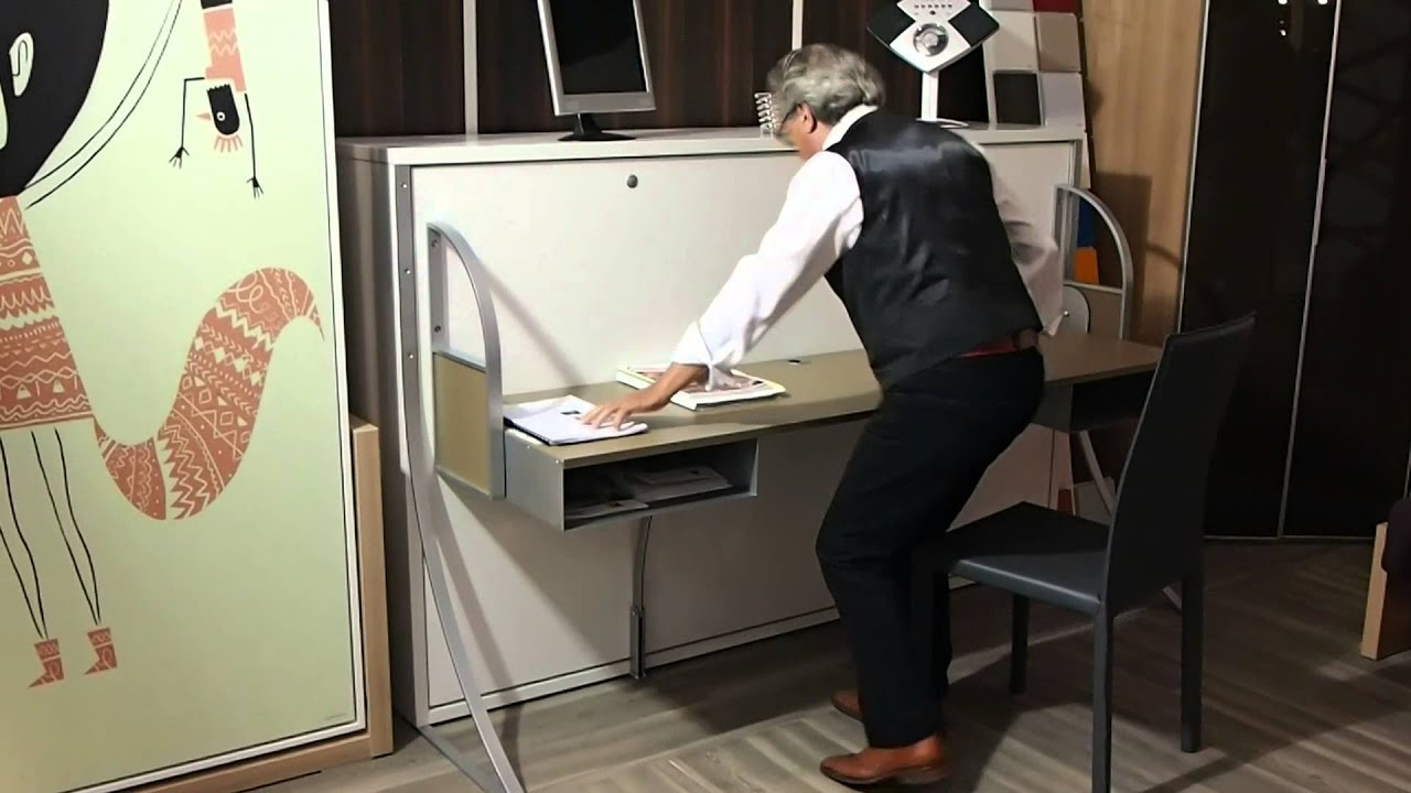 Lit Retractable Lit Escamotable Bureau Youtube