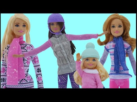 Thumbnail: SNOWBOARDING! Barbie, Chelsea, Stacie & Skipper SLIDE with the TOBOGGAN. Fun in the Snow!