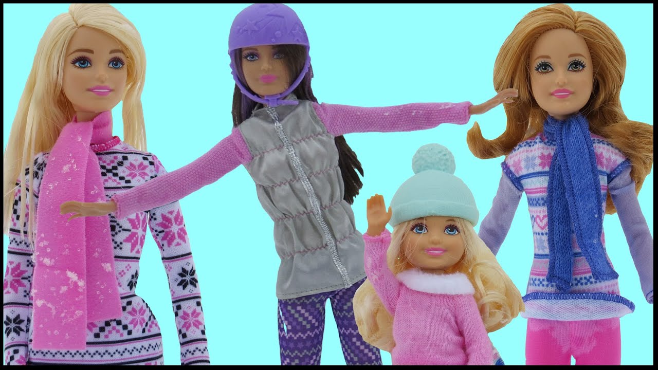 SNOWBOARDING! Barbie, Chelsea, Stacie & Skipper SLIDE with the .