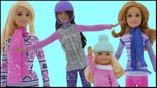 SNOWBOARDING! Barbie, Chelsea, Stacie & Skipper SLIDE with the TOBOGGAN. Fun in the Snow!