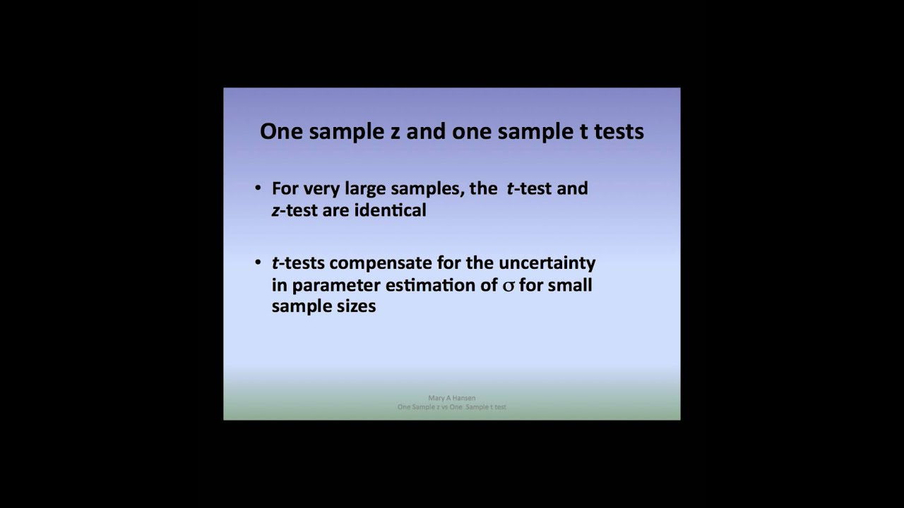 Differentiating between a One sample z test and One sample t test ...