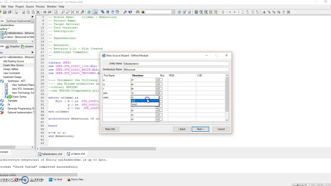 Full Adder Structural Modelling style VHDL programming - Kunal Singhal