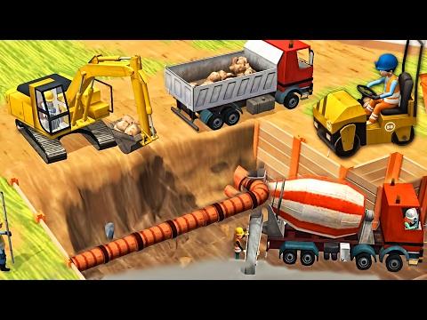 Little Builders Games - Trucks, Cranes, Digger - New Fun Construction GamePlay