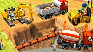 Little Builders Games  Trucks Cranes Digger  New Fun Construction GamePlay