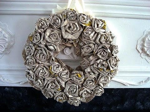 How To Diy Rolled Paper Roses Wreath Newsprint Book Pages Paper