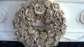 Repeat youtube video HOW TO DIY ROLLED PAPER ROSES WREATH, newsprint, book pages, paper crafts