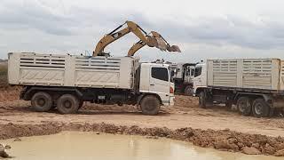 จัดหนัก จัดเต็ม CAT320D2 4 เสือ ดงรถบรรทุก เล่นอ่างเก็บน้ำ excavator EP.5275