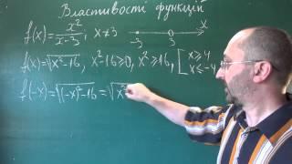Приклади дослідження функцій на парність 9 клас