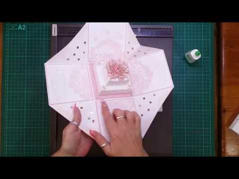 how to make a wedding cake card box with fabric cake tutorial for wedding exploding box card 15886