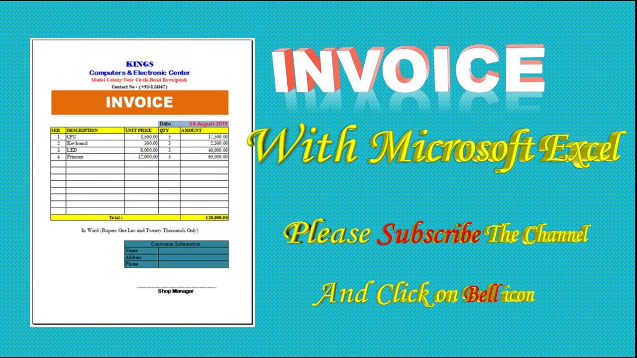 How To Create Invoice In Excel Sheet Invoice Template In Excel Cash Memo