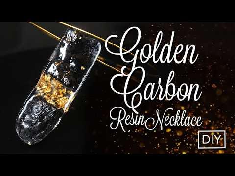 Resin Golden Carbon Necklace