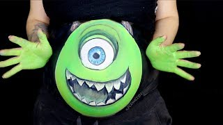 Mike Wazowski Belly Paiting | PREGNANCY HALLOWEEN MAKEUP TUTORIAL | Jade Madden