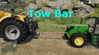 -You can pull vehicles with this tow bar -You can use your hands to bring the tow bar in place -Attach the black end to the tractor with button Q -Drive to the desired tractor which needs to be towed and press X to attach it.  If you find any errors or is