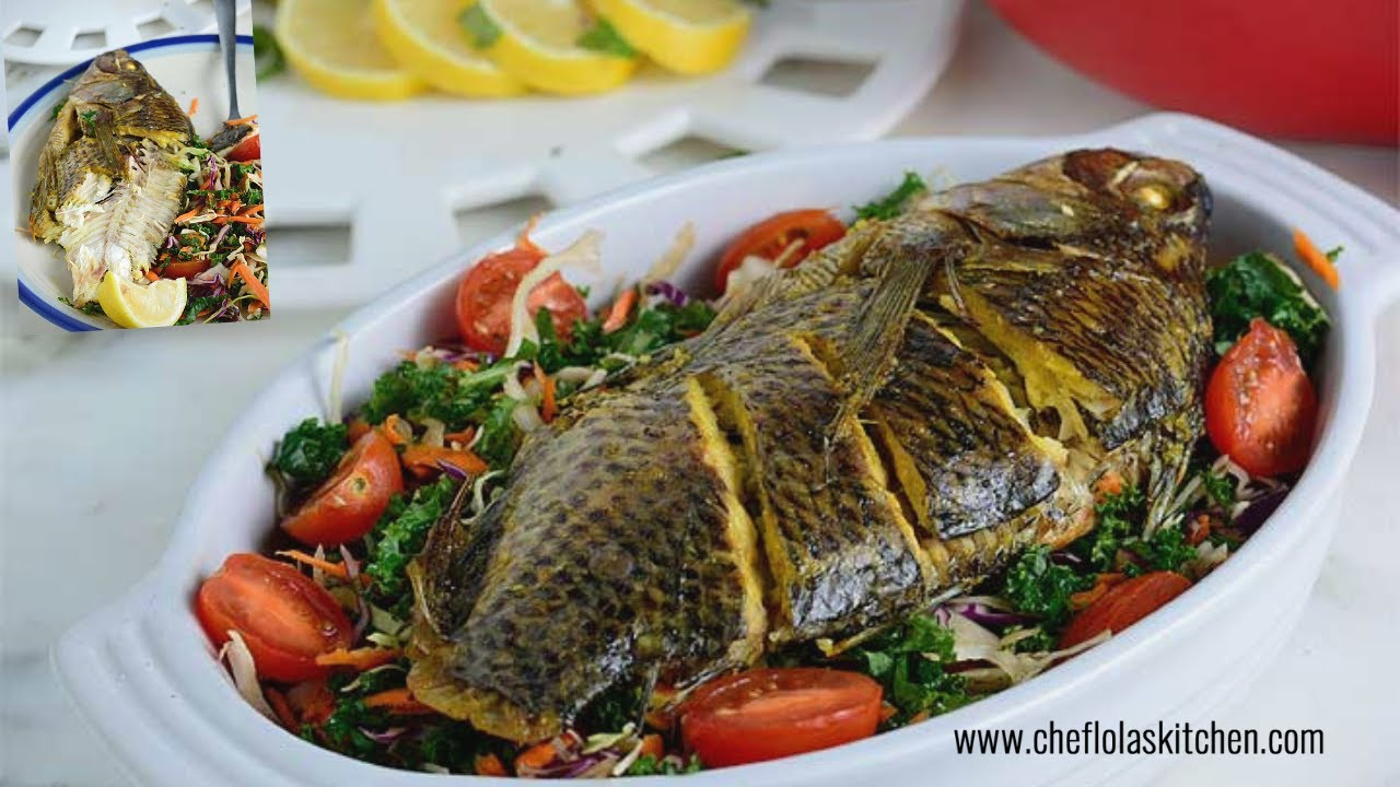 Fish recipes baked tilapia afropotluck youtube for Fish in oven