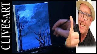 sky acrylic night painting easy beginners tutorials paintings tutorial lesson acrilic clive5art