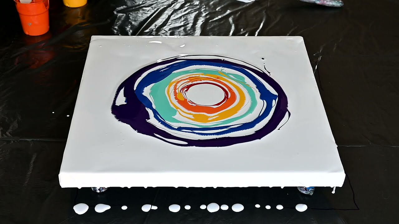 (702) Rainbow sunset ~ Acrylic pouring flip cup tutorial ~ Fluid art ~ Abstract painting