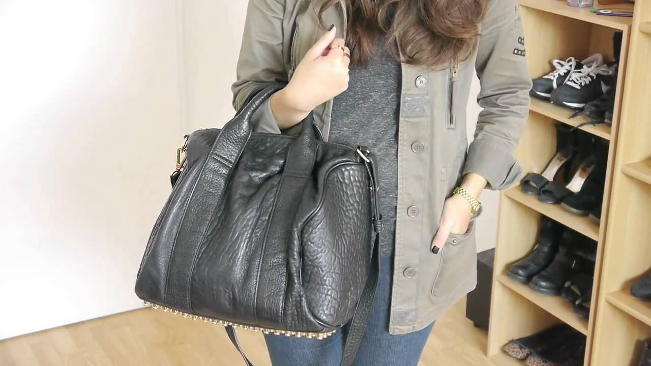 Alexa Studded Calfskin Leather Bag Black With Gold Studs - YouTube 6ff86e5bbf187