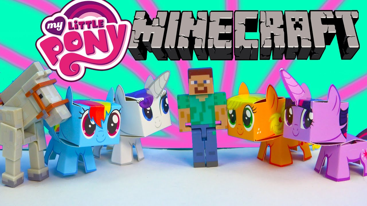 Papercraft My Little Pony Boxos Paper Craft Style Minecraft Figures Steve Horse MLP Toy Unboxing Review