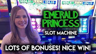 SO MANY BONUSES!! Nice Win on Emerald Princess Slot Machine!!