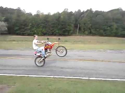 08 crf150r big wheel wheelie better at the end youtube