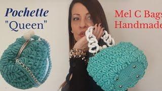"""Pochette """"QUEEN"""" Punto CONCHIGLIA/ VENTAGLIO ROCOCÒ Crochet/Uncinetto Mel C Bags Handmade"""