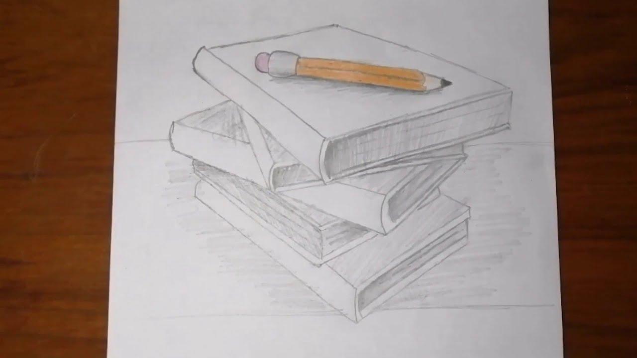 رسم سهل للمبتدئين رسم كتب فوق بعضها بقلم الرصاص رسم كتب بالرصاص Youtube
