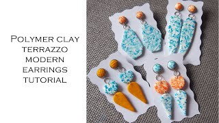 Polymer clay modern terrazzo earrings tutorial from leftover clay
