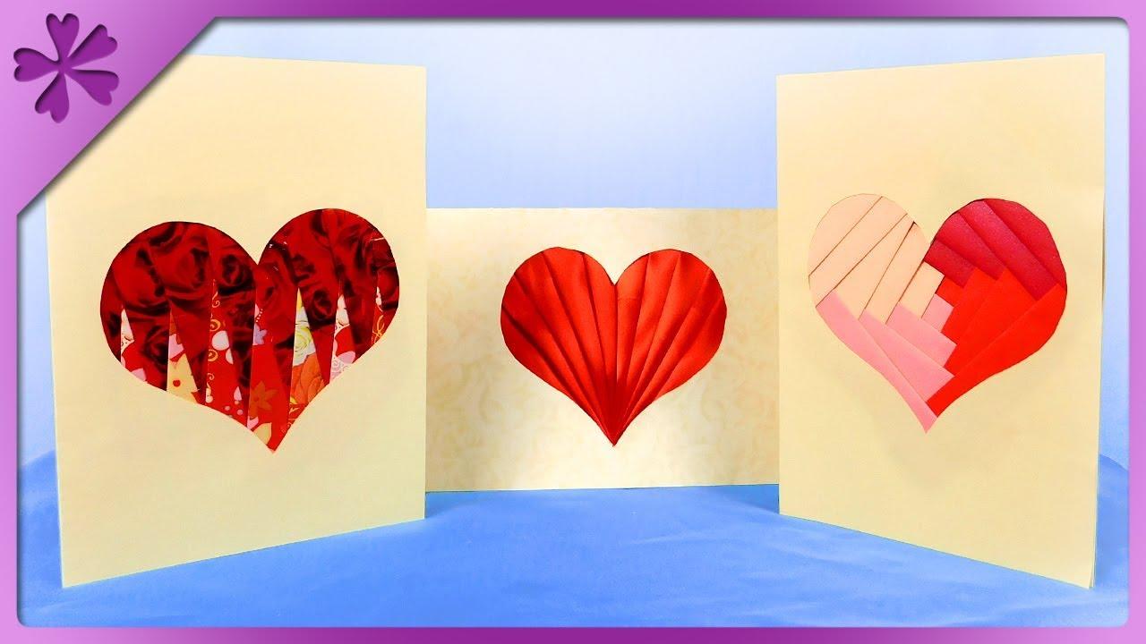 Diy How To Make Iris Folding Card Heart 3 Patterns Eng Subtitles