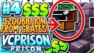 I WON $200 BILLION DOLLARS FROM CRATES + GIVEAWAY!   Minecraft PRISON Series #4 (VCPrison Series)
