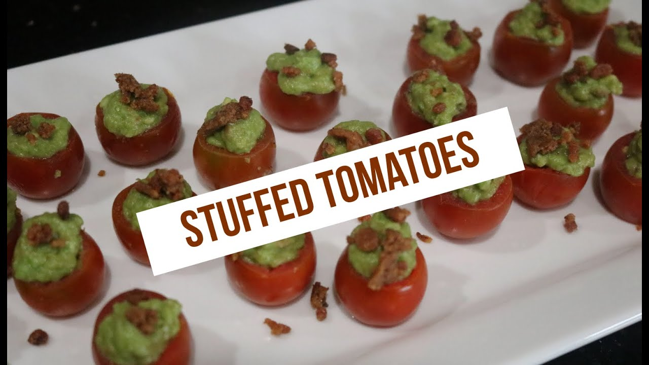 Cherry Tomatoes Stuffed with Avocado & Bacon