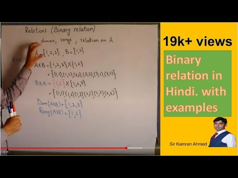 Binary relation in Hindi. with examples?