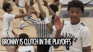 Bronny James Hits CLUTCH Shot In Sierra Canyon Semi-Final Playoff Game!