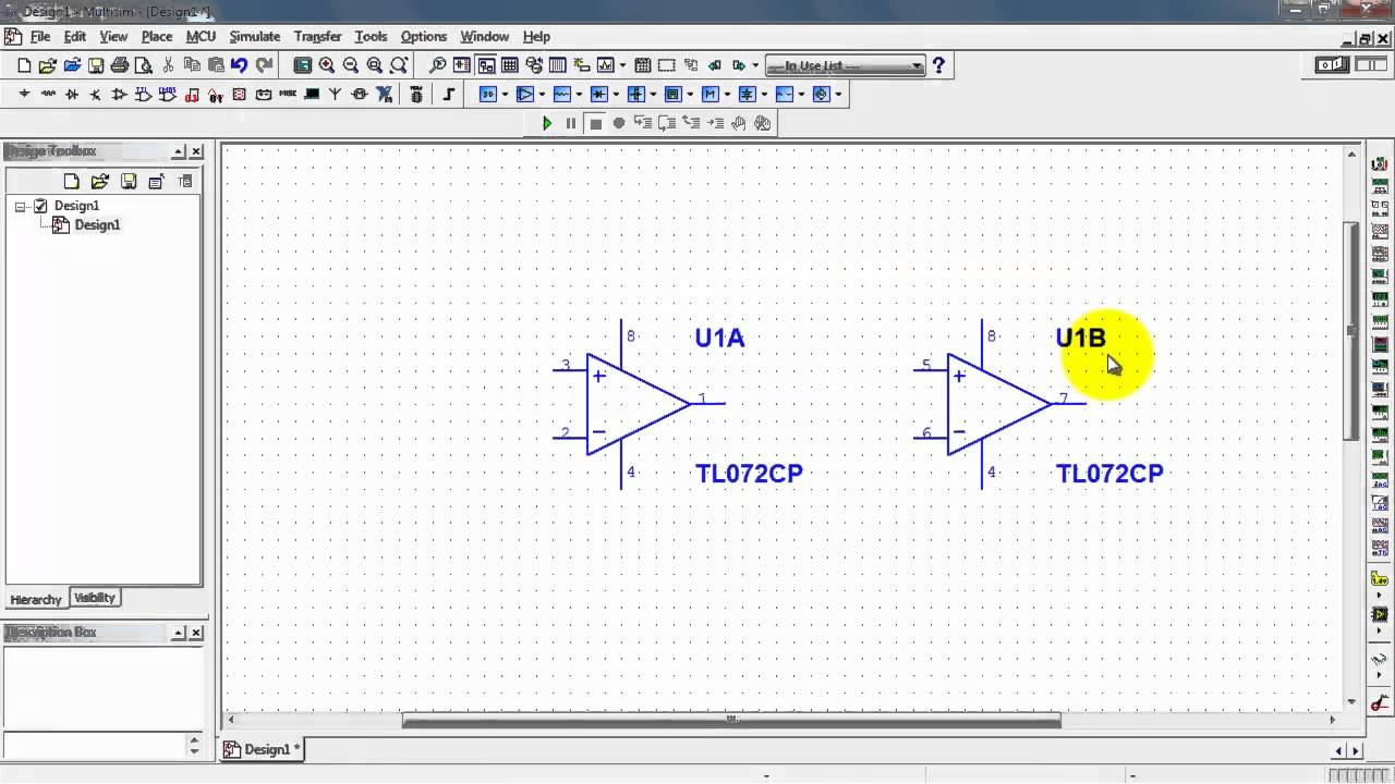 Ni Multisim Place Dual Op Amp Second Device Youtube Single Ic Preamp By Lm358