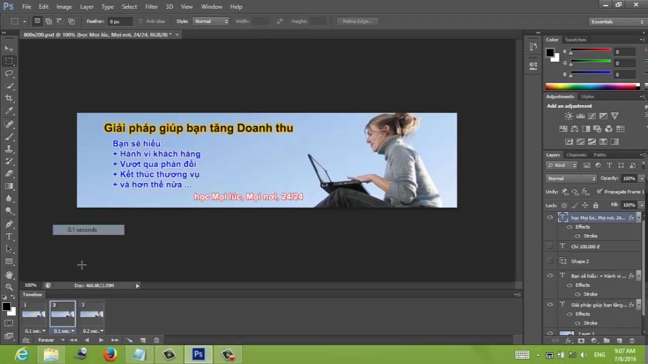 Cách tạo ảnh động bằng Photoshop CS6